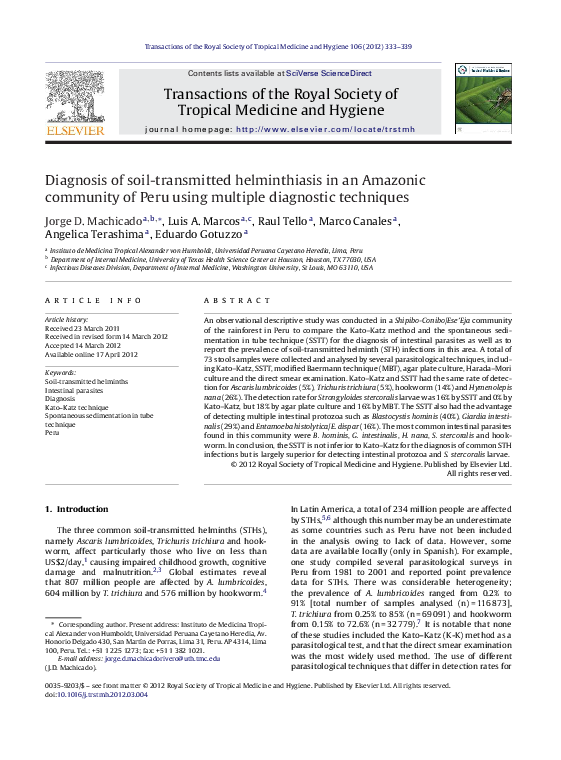 helminthiasis diagnózis)