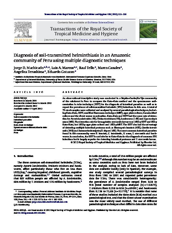 helminthiasis diagnózis