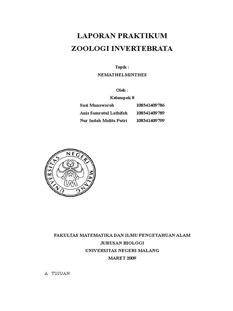 zoologi invertebrata nemathelminthes