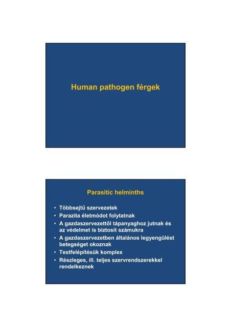 helminthiasis jellemző)