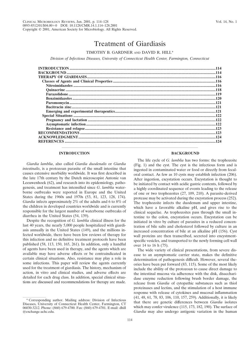 furazolidone a giardiasis kezelésére