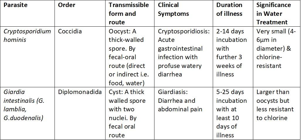giardia detection in water bőr paraziták tünetei